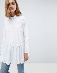 Moss Copenhagen Oversized Shirt With Peplum Hem White
