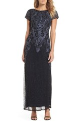 Pisarro Nights Embroidered Mesh Gown Black