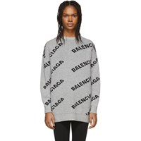 Balenciaga Grey And Black Oversized Logo Sweater