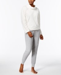Nautica Plush Textured Top And Jogger Pants Pajama Set Vanilla