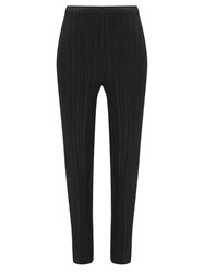 Issey Miyake Pleats Please Tapered Leg Technical Pleated Trousers Black