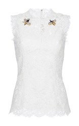 Dolce And Gabbana Bee Brooch Lace Top White