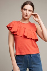 Anthropologie Ruffled Asymmetry Shell Red