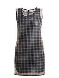 Helmut Lang Round Neck Checked Semi Sheer Dress Black Multi