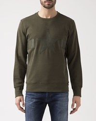 Diesel Khaki Crew Neck Leather Star Joe Sweatshirt