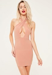 Missguided Pink Plunge Long Sleeve Side Split Midi Dress