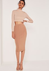 Missguided Ribbed Popper Through Maxi Skirt Brown Brown