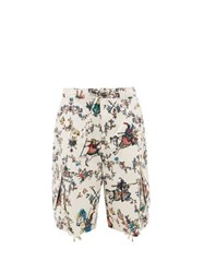 J.W.Anderson Jw Anderson Oversized Camelot Print Drawstring Cotton Shorts White Multi