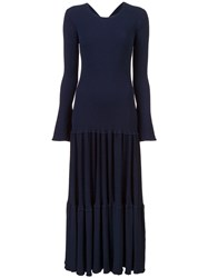 Carolina Herrera Pleated Knit Dress Blue