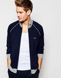 Hugo Boss Zip Through Jacket In Regular Fit Navy Blue