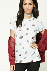 Forever 21 Leave Me Alone Graphic Tee White Pink