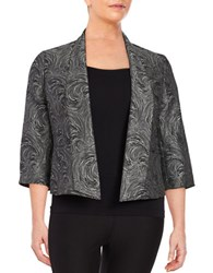 Nipon Boutique Plus Patterned Shawl Collar Blazer Silver