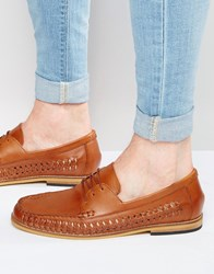 Frank Wright Woven Loafers In Tan Leather Tan