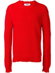 Msgm Ribbed Jumper Red