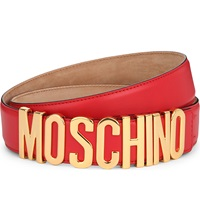 Moschino Letters Leather Belt Red