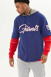 Forever 21 Nfl Giants Hooded Fleece Shirt Blue Red