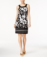 Thalia Sodi Sleeveless Printed A Line Dress Bright White Combo