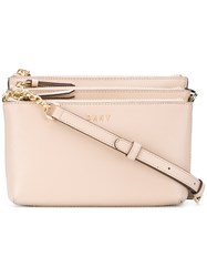 Donna Karan Triple Zip Cross Body Bag Calf Leather Nude Neutrals