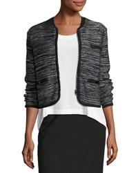 Rag And Bone Rosalie Cropped Zip Front Sweater Jacket Black White