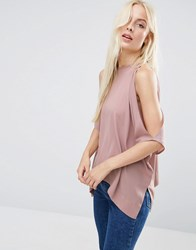Asos Kimono Tee With Cold Shoulder Dusty Lilac Purple