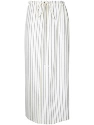 Jil Sander Striped Drawstring Waist Skirt Women Spandex Elastane Wool 38 Nude Neutrals