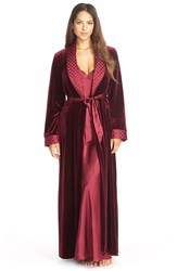 Jonquil 'Taylor' Velvet And Satin Robe Burgundy