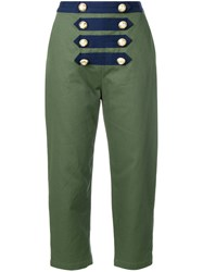 Manoush Cropped Sailor Trousers Green