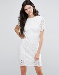 Vila Short Sleeve Lace Shift Dress Snow White