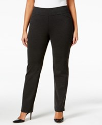 Charter Club Plus Size Cambridge Tummy Control Ponte Pants Only At Macy's Heather Onyx