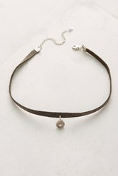 Anthropologie Kimra Leather Choker Necklace Grey