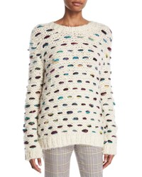 Gabriela Hearst Marello Crewneck Cashmere Wool Cable Knit Sweater White Pattern