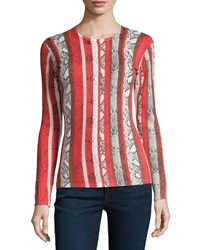 Neiman Marcus Cashmere Collection Snake Stripe Print Cashmere Sweater