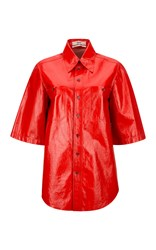 Bally Shiny Lamb Nappa Short Sleeved Shirt Red