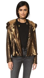 Free People Sequin Hooded Jacket Terracotta
