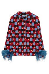 Prada Feather Trimmed Printed Crepe De Chine Shirt Red