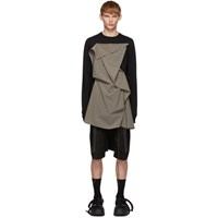 Rick Owens Black And Grey Front Panel Sweater