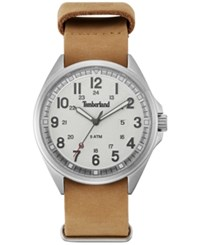 Timberland Men's Raynham Brown Leather Strap Watch 44X48mm Tblgs14829js01as Silver