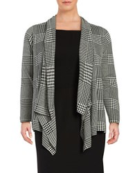 Nipon Boutique Plus Houndstooth Open Cardigan Black White