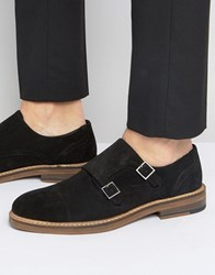 Asos Monk Shoes In Black Suede With Natural Sole Black