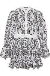 Alexander Mcqueen Tiered Broderie Anglaise Cotton Mini Dress White