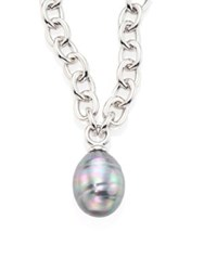 Majorica 14Mm Grey Baroque Pearl Pendant Necklace Silver Grey