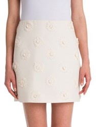 Valentino Daisy Embroidered Wool And Silk Crepe Couture Skirt Avorio