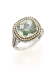 Effy Green Amethyst Sterling Silver And 18K Yellow Gold Ring
