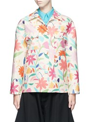Chictopia Floral Print Pocket Wool Silk Jacket Multi Colour