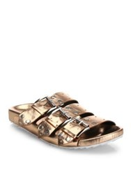 Rebecca Minkoff Tania Buckle Metallic Slides Rose Gold