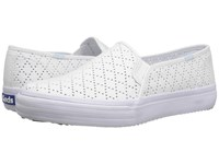 Keds Double Decker Perforated Canvas White Women's Slip On Shoes