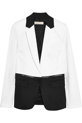 Michael Michael Kors Two Tone Stretch Cotton Poplin Blazer White