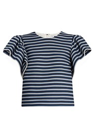 Msgm Ruffled Sleeve Striped Cotton Blend Top Blue White