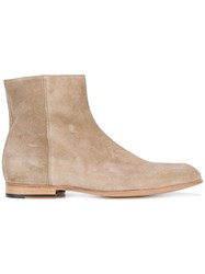 Paul Smith London Side Zip Ankle Boots Men Leather Suede 8 Nude Neutrals