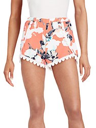 Saks Fifth Avenue Red Lace Trimmed Floral Print Shorts Red Multi